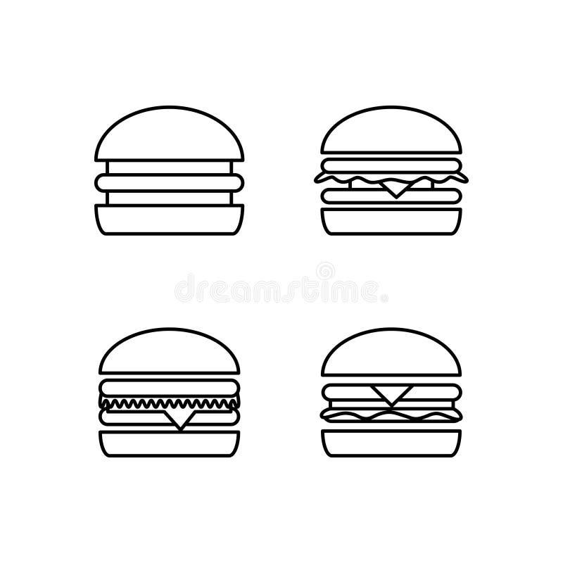 taco f?r pie f?r burritosnabbmatkebab set Svartvit hamburgaresymbol royaltyfri illustrationer