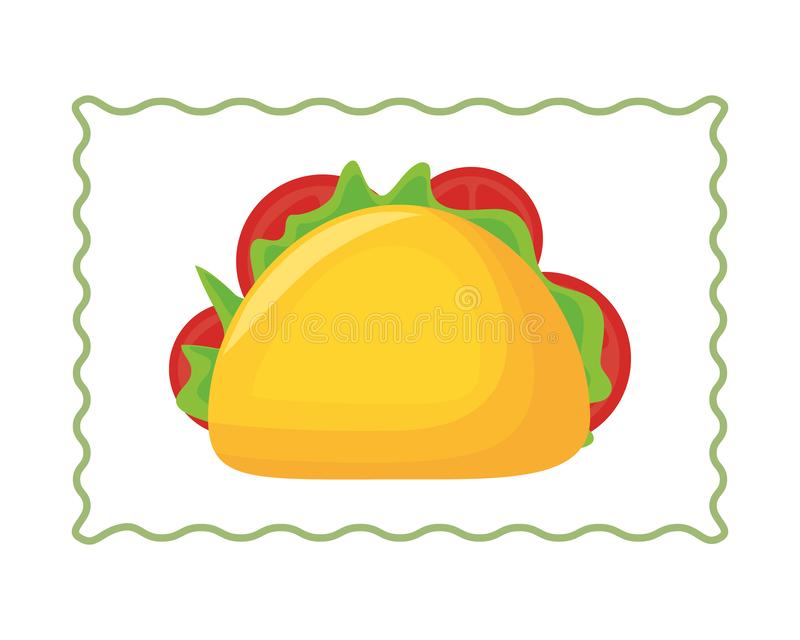 Taco food mexican culture traditional vector illustration