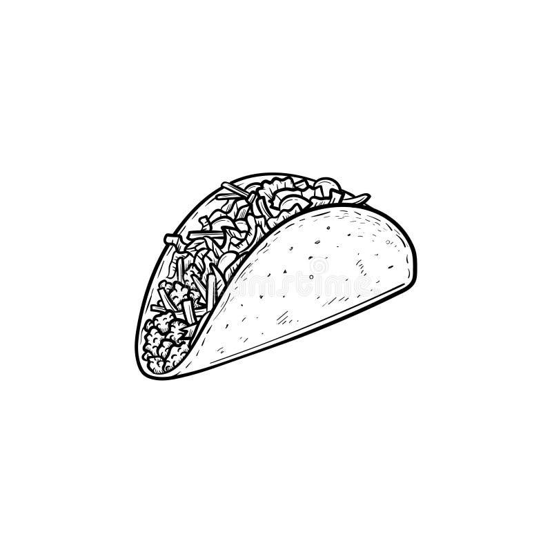 Taco hand drawn sketch icon. stock illustration