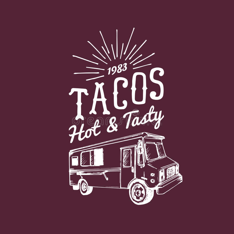 Taco-, heißes und geschmackvolleslogo Lebensmittel-LKW-Ikone der Vektorweinlese mexikanische Retro- Hand gezeichnete Hippie-Straß stock abbildung