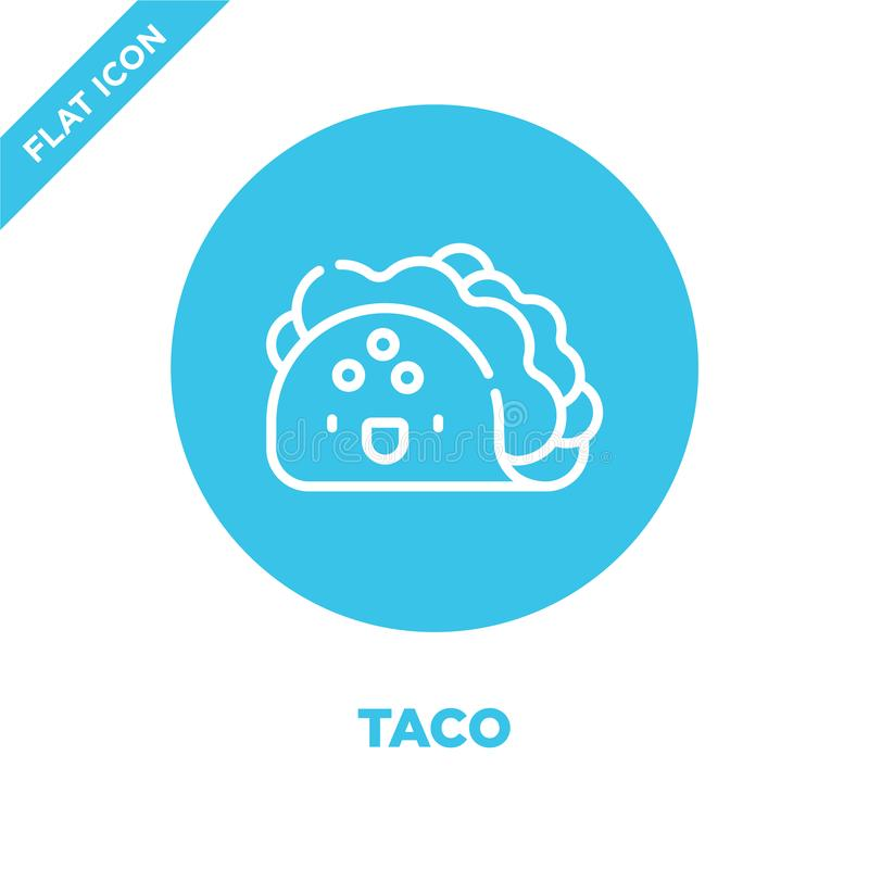 taco icon vector from take away collection. Thin line taco outline icon vector  illustration. Linear symbol for use on web and vector illustration