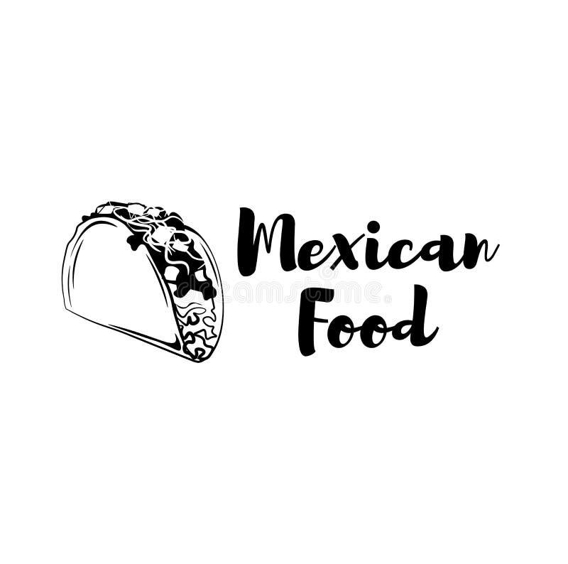 Taco ikona Meksykański karmowy logo Kreskówki tacos odznaka Meksyk symbol ostre jedzenie kuchnia zieloną meksykańskiego sosu ostr ilustracja wektor