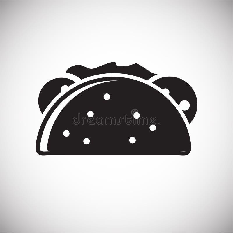 Taco ikona na białym tle dla grafiki i sieci projekta, Nowożytny prosty wektoru znak kolor tła pojęcia, niebieski internetu Modny ilustracja wektor