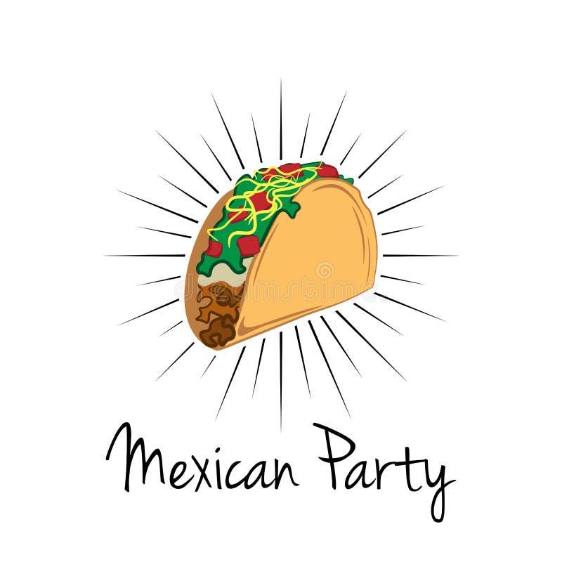 Taco ilustracja na białym tle, Meksyk jedzenie Tradycyjna Meksykańska kuchnia ilustracji