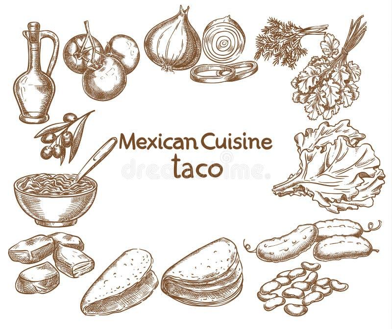 Taco, ingrediënten van het voedsel royalty-vrije illustratie