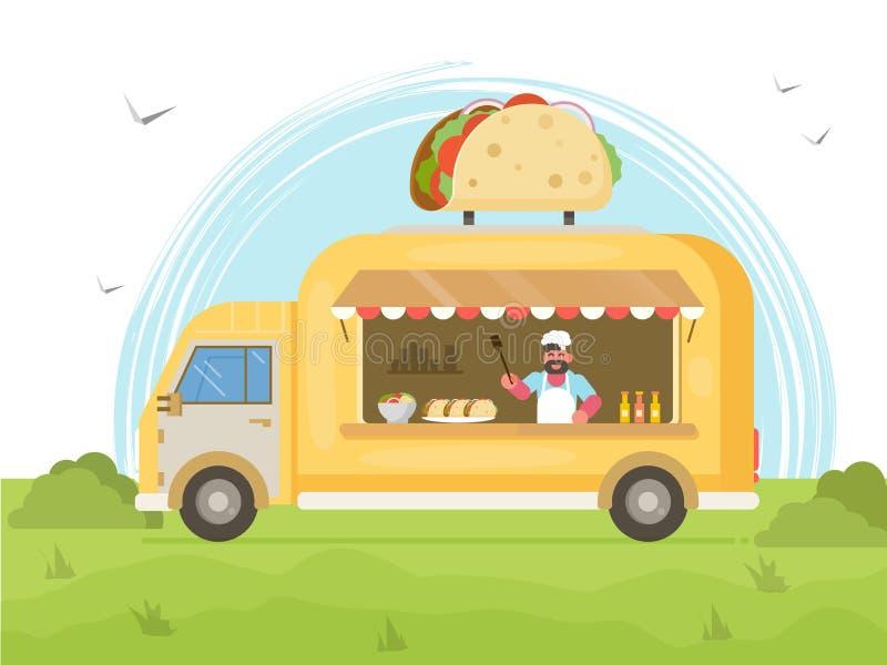 Taco jedzenia ciężarówka Uliczny jedzenie ciężarówki pojęcie ilustracja wektor
