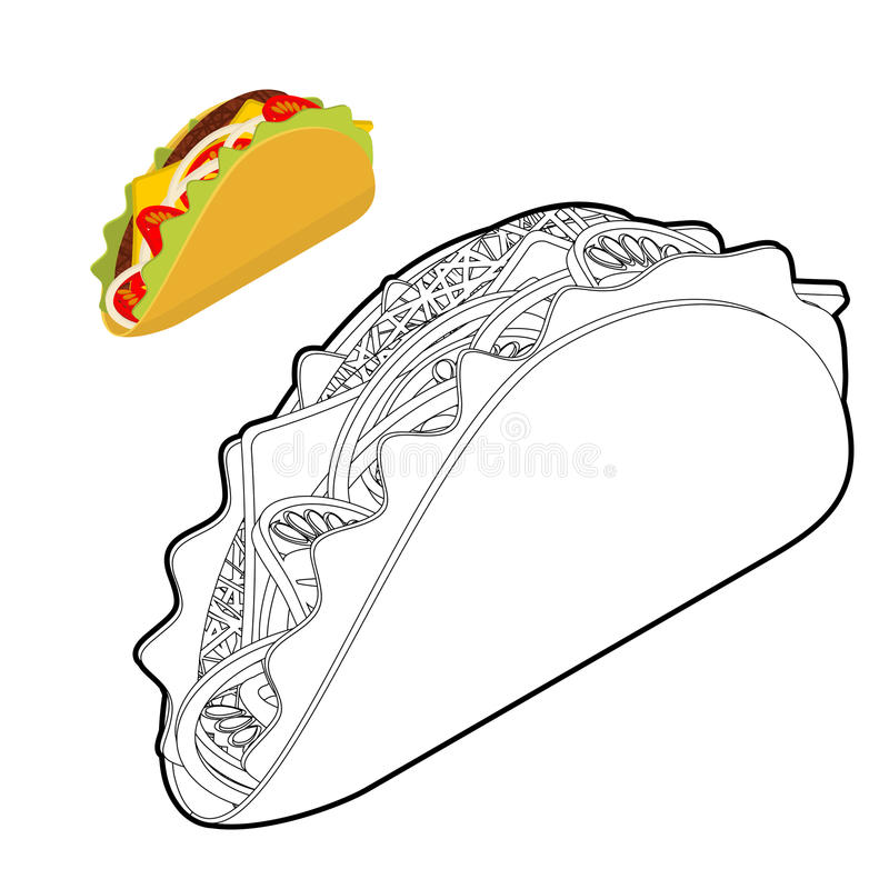Taco kolorystyki książka Tradycyjny Meksykański jedzenie w liniowym stylu  ilustracji