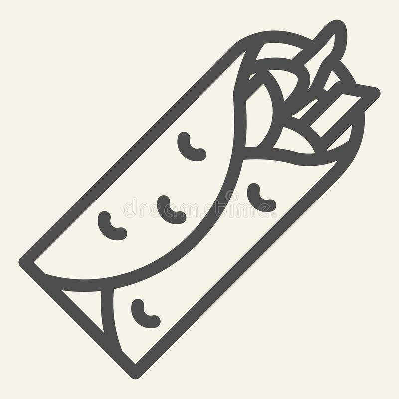 Taco line icon. Mexican food vector illustration isolated on white. Burrito outline style design, designed for web and royalty free illustration