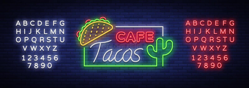 Taco loga wektor Neonowy znak na Meksykańskim jedzeniu, Tacos, ulica ilustracji