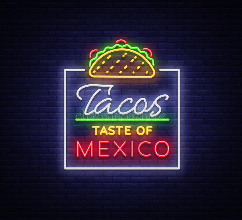 Taco logo vector. Neon sign on Mexican food, Tacos, street food, fast food, snack. Bright neon billboards, shining royalty free illustration