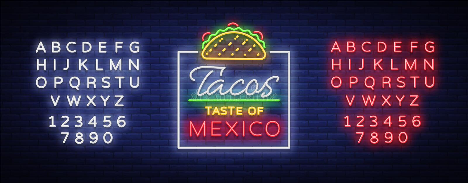 Taco logo vector. Neon sign on Mexican food, Tacos, street food, fast food, snack. Bright neon billboards, shining stock illustration