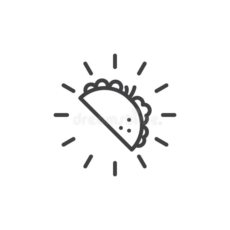 Taco mexican food line icon vector illustration