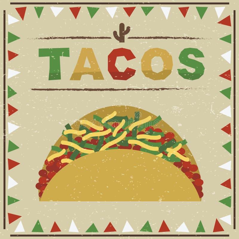 Taco mexicano ilustração do vetor