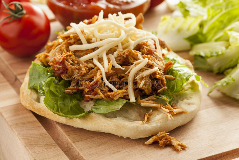 Taco mexicano caseiro do Flatbread com carne fotos de stock royalty free
