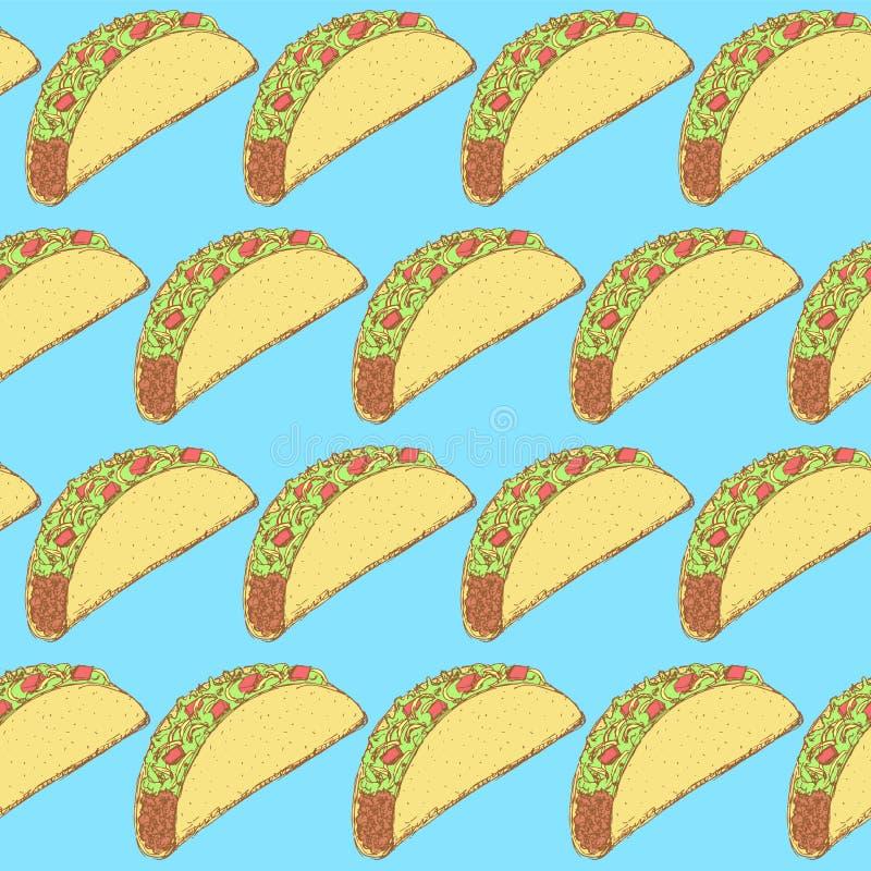 Taco mexicano do esboço no estilo do vintage ilustração royalty free
