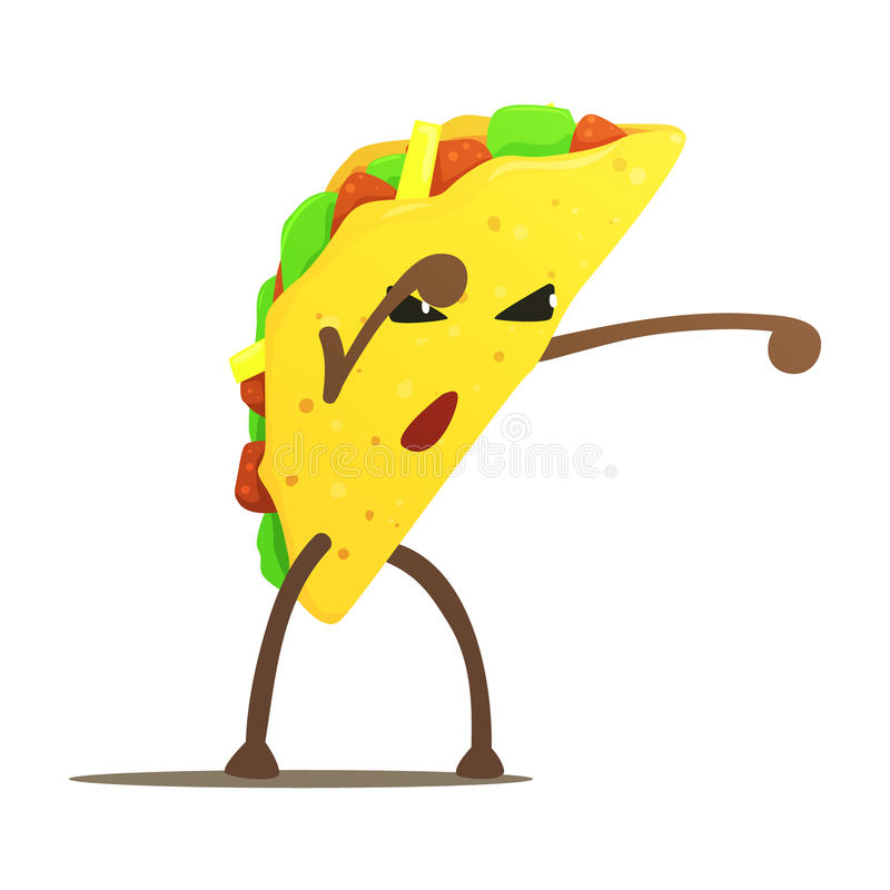 Taco mexicano Street Fighter, mau Guy Cartoon Character Fighting Illustration do fast food ilustração stock