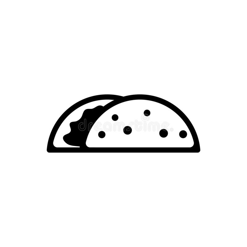 Taco, mexikanischer Teller-flache Vektor-Ikone stock abbildung
