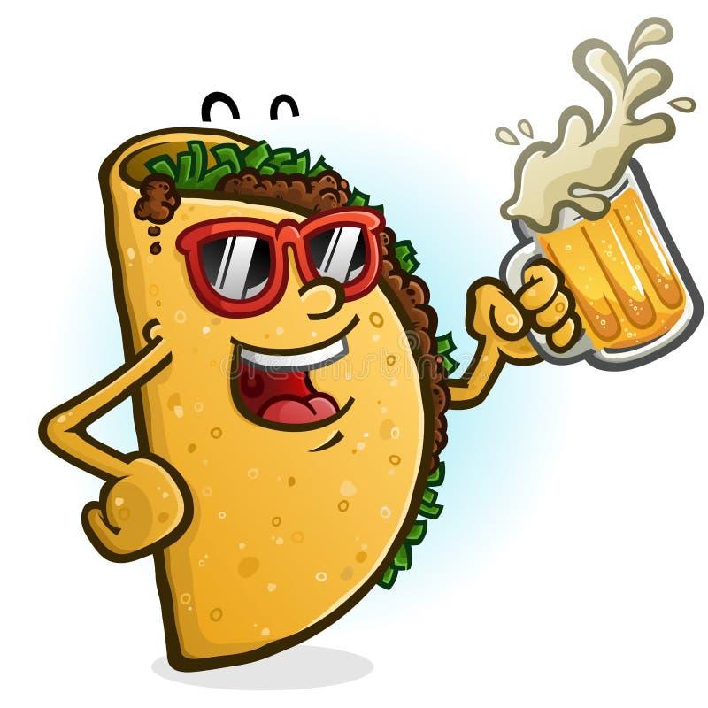 Taco posta? z kresk?wki Pije piwo royalty ilustracja