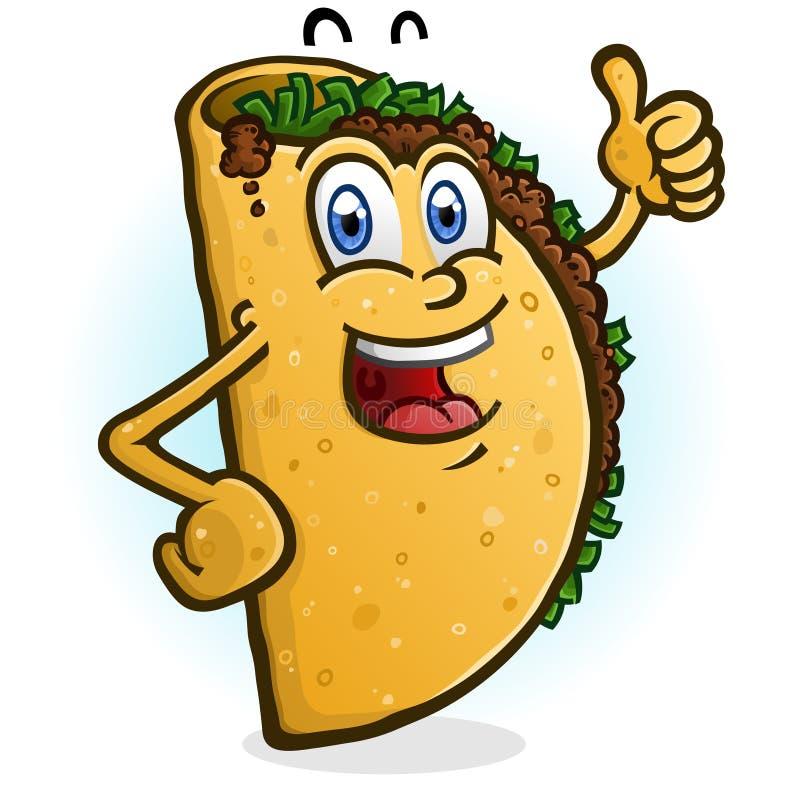 Taco postaci z kresk?wki Dawa? aprobaty ilustracja wektor