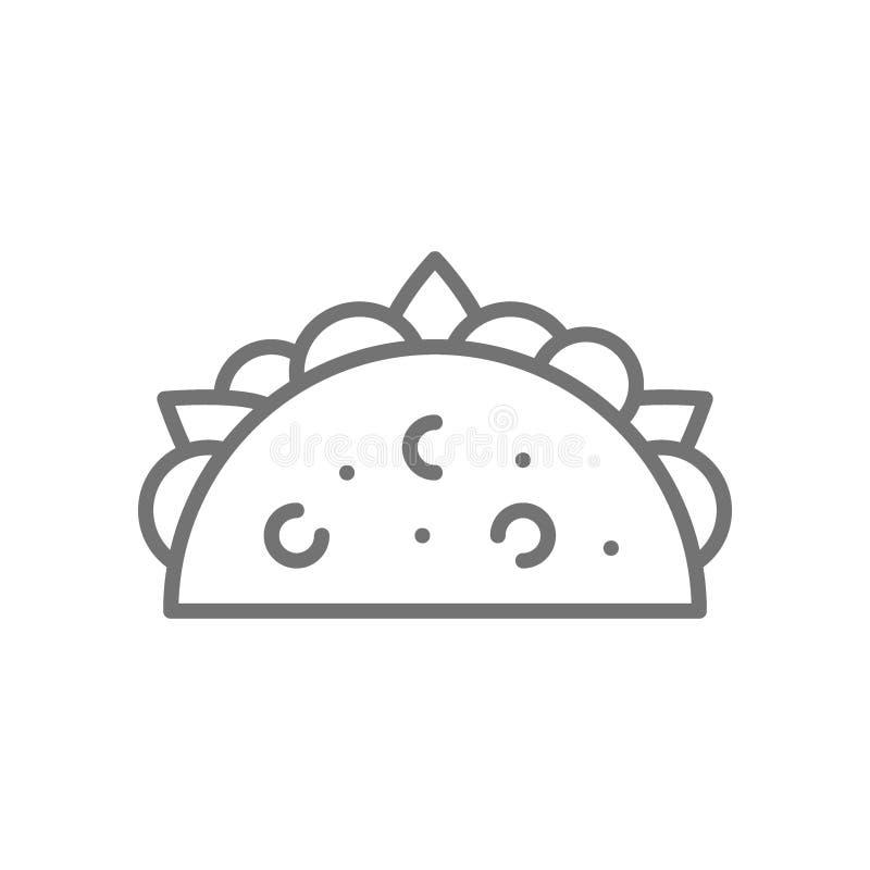 Taco, prato mexicano, linha tradicional ícone do fast food ilustração stock