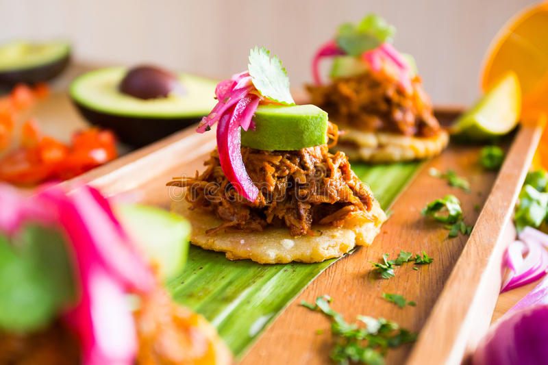 Taco Pulled Pork. Fine version from the tipical mexican tacos. This one with pulled pork meat royalty free stock photos