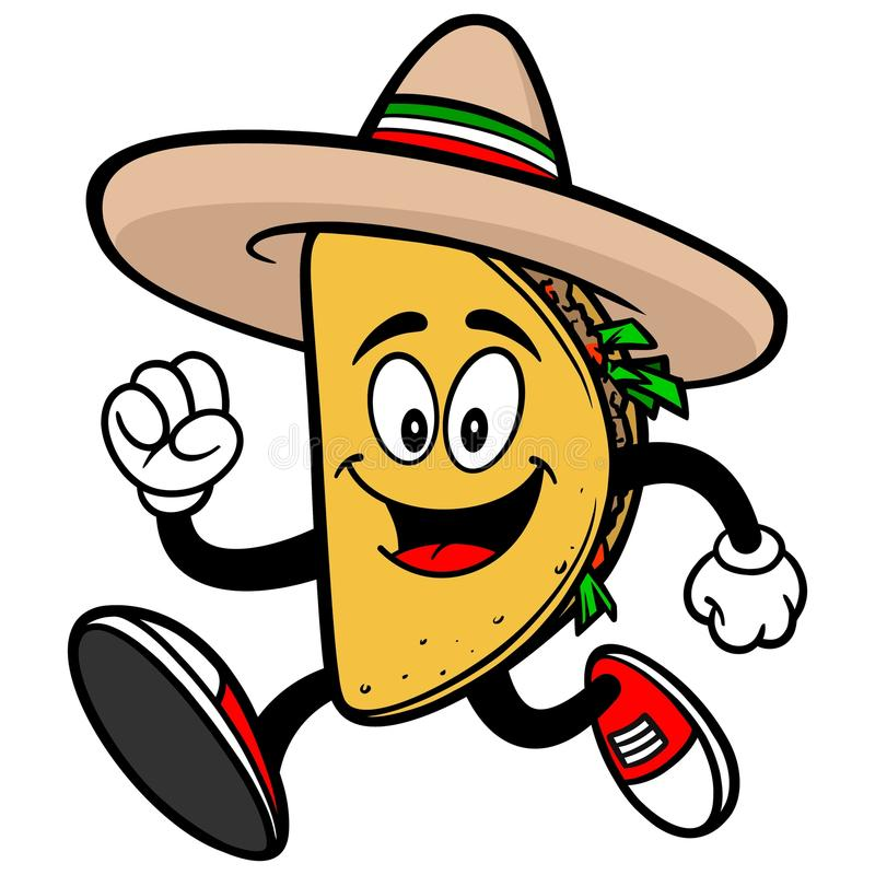 Taco Running. A vector illustration of a Taco Running royalty free illustration