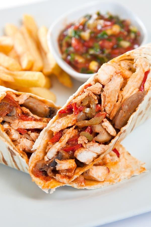 Taco's met frieten royalty-vrije stock afbeeldingen
