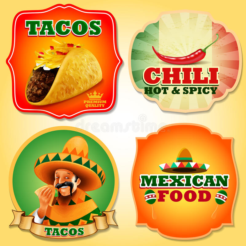 Taco's Mexicaanse STICKERS royalty-vrije illustratie