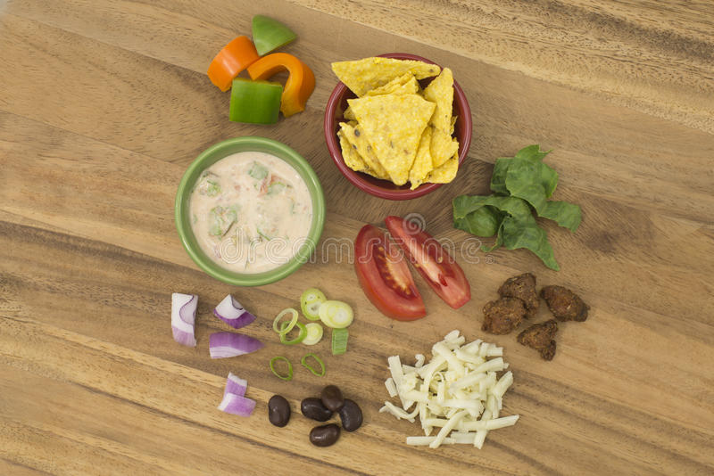 Taco Salad with Salsa Dressing ingredients stock photography