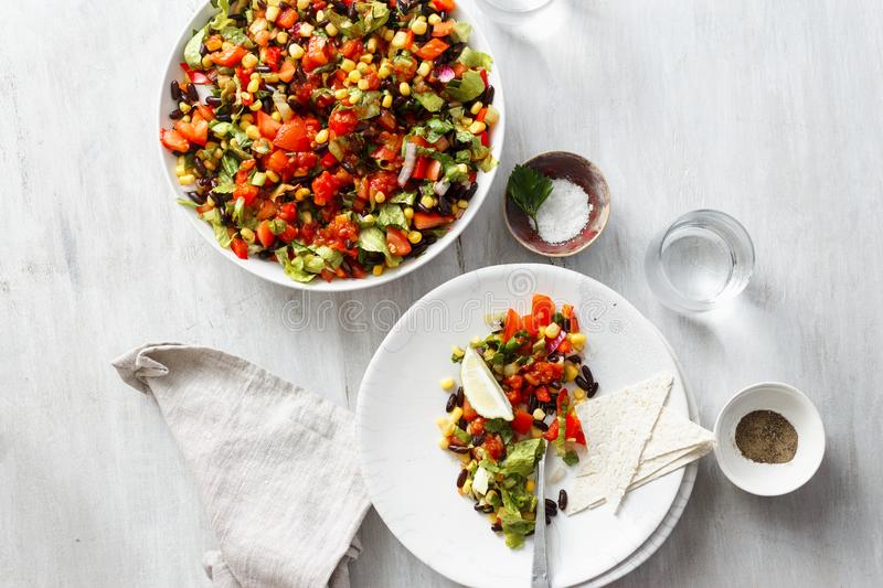Taco salad white wooden table top view stock images
