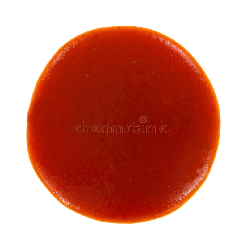 Taco sauce. Top view of a round blob of red taco sauce on a white background royalty free stock images