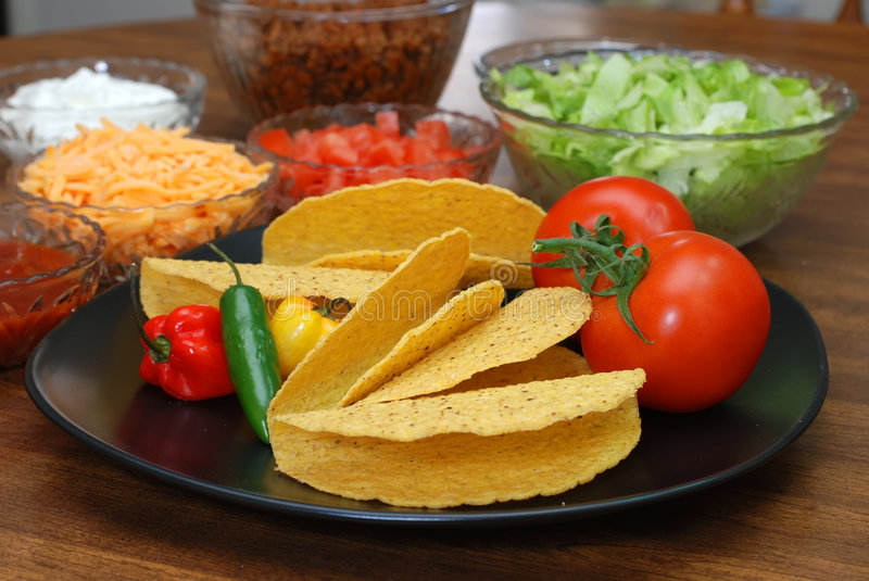 Download Taco Shells And Ingredients Stock Image - Image: 4100657