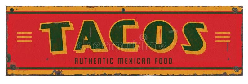 Taco Tin Sign retro fotografia de stock