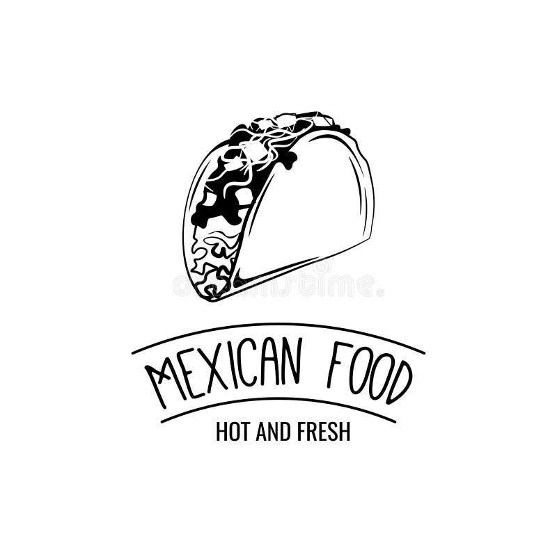 Taco Tradycyjny meksykański jedzenie Wektorowy etykietka szablon Meksykański Karmowy literowanie ilustracji