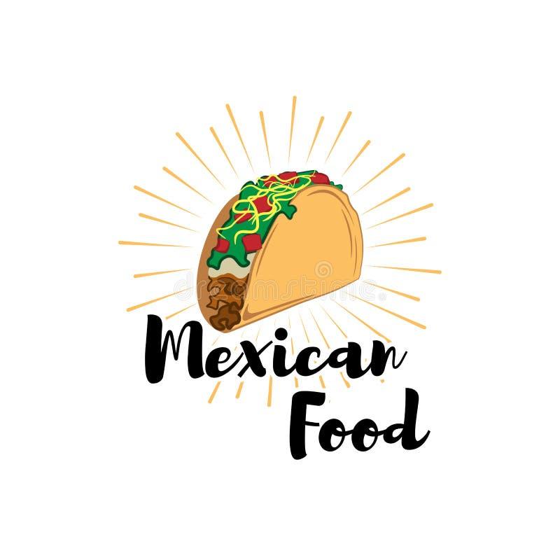 Taco Tradycyjny meksykański jedzenie Wektorowy etykietka szablon, pojęcie lub Może używać projektować menu, wizytówki, plakaty ilustracja wektor
