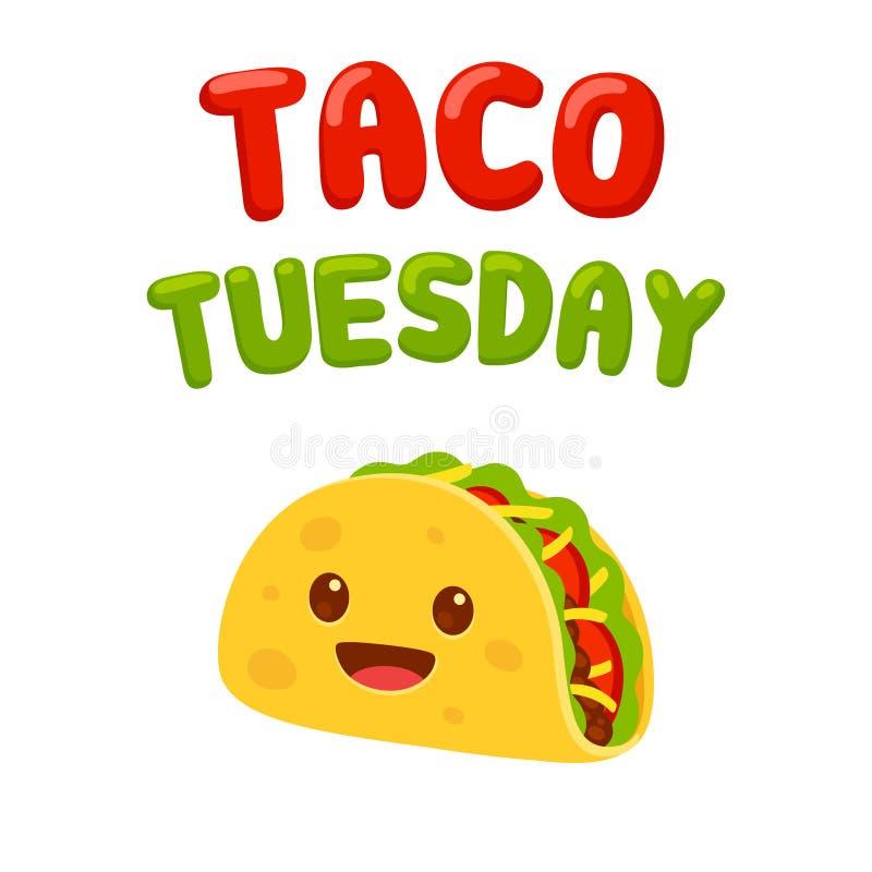 Taco Tuesday cartoon drawing royalty free illustration