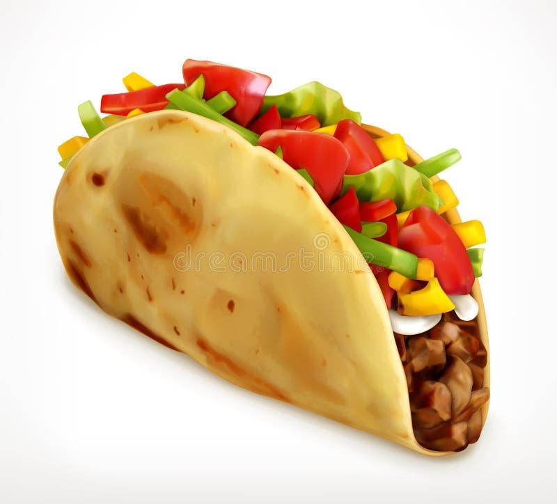Taco, wektorowa ikona ilustracja wektor