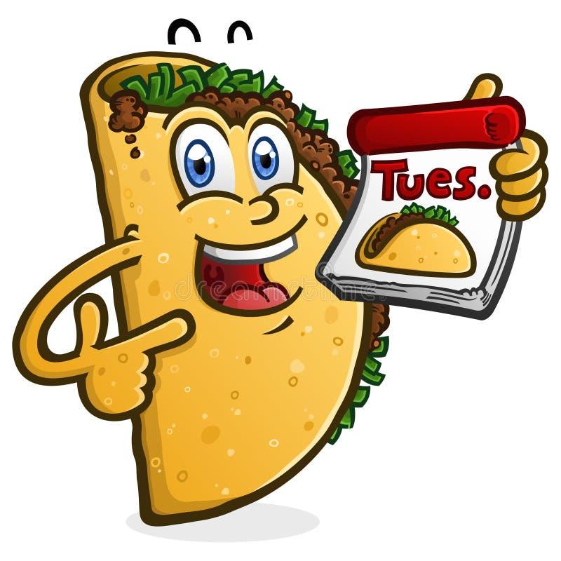 Taco Wtorku postaci z kresk?wki mienia kalendarz ilustracja wektor