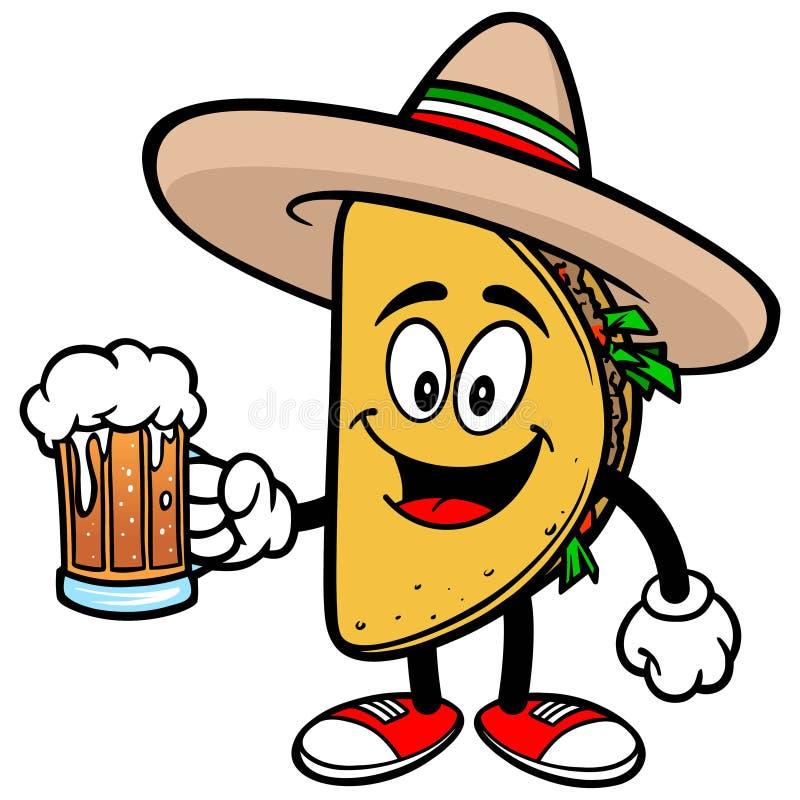 Taco z piwem ilustracja wektor