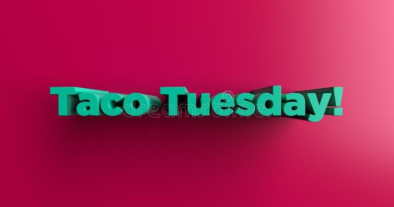 Tacodinsdag! - 3D teruggegeven kleurrijke krantekopillustratie royalty-vrije illustratie