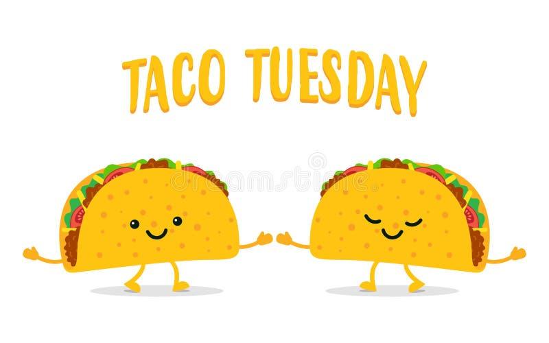 Tacodinsdag Twee grappige taco's stock illustratie