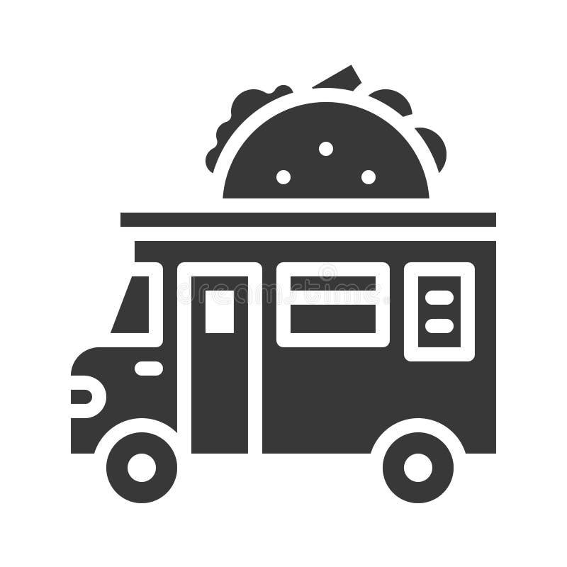 Tacolastbilvektor, symbol för stil för matlastbil fast vektor illustrationer