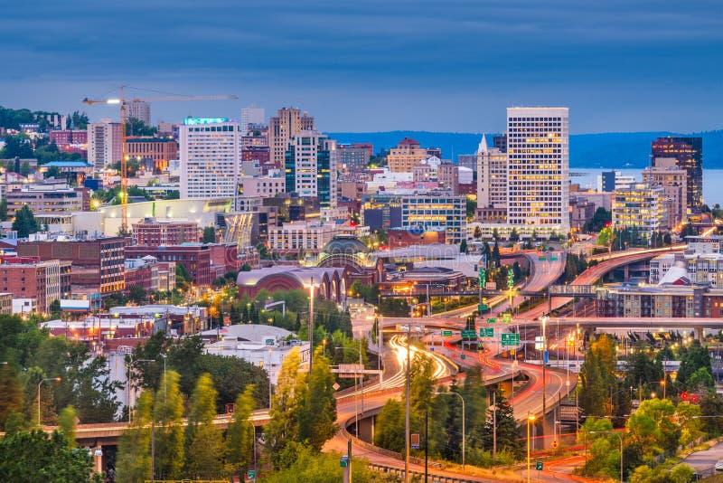 Tacoma, Вашингтон, горизонт США стоковые фотографии rf