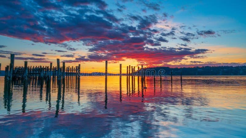 Tacoma begr?nsar solnedg?ng ?ver Puget Sound royaltyfri bild
