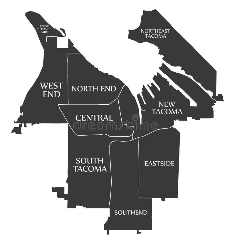 Tacoma miasta mapy Waszyngtoński usa przylepiał etykietkę czarną ilustrację royalty ilustracja