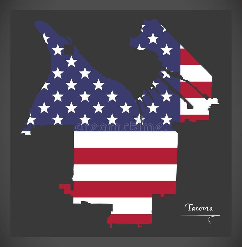 Tacoma miasta Waszyngtońska mapa z Amerykańską flagi państowowej ilustracją royalty ilustracja