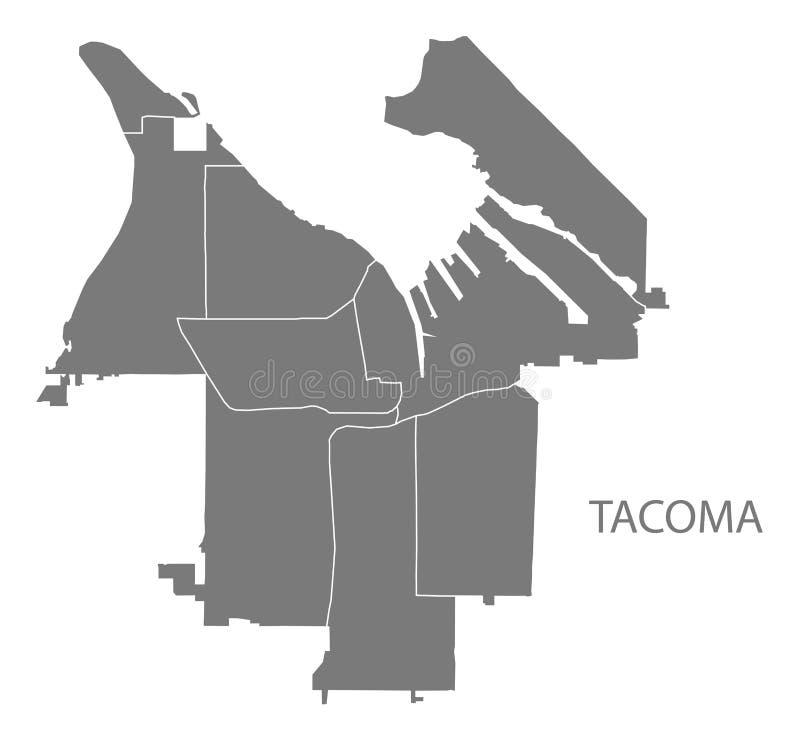 Tacoma miasta Waszyngtońska mapa z sąsiedztwami siwieje ilustracyjnego sylwetka kształt ilustracja wektor