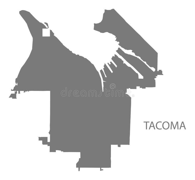 Tacoma miasta Waszyngtońskiej mapy sylwetki popielaty ilustracyjny kształt ilustracja wektor