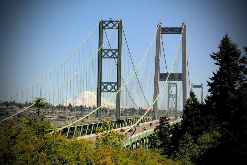 Tacoma Narrows Bridge and Mt Rainier royalty free stock image