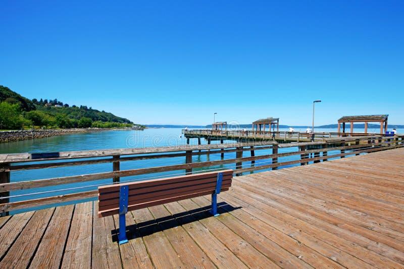 Tacoma, pier waterfront. Ruston Way. royalty free stock photography